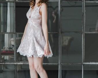 Floral Eyelash Lace Bridal Party Dress, 'Bridgette' with Plunge V Neckline