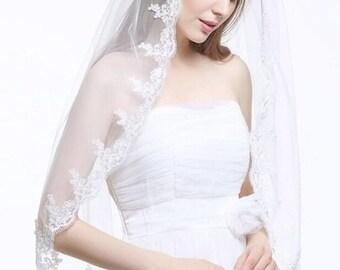 Bridal veil with comb, white veil, ivory veil, lace veil