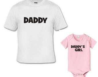 Daddy and Daddy's girl daddy and daughter matching shirt and bodysuit set of 2 great gift size choice new