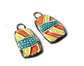 A pair of ceramic dangles / drops / pendants - handmade jewelry components