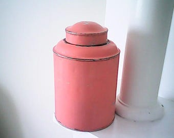 1930s DOME TIN CANISTER Chippy Salmon Pink Paint