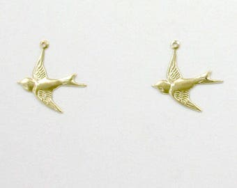 14k Gold Filled Bird Charms, Set of 2 - stc-GF110