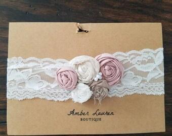 Dusty rose and lace baby headband, newborn photography prop, vintage newborn baby headband, pink and ivory baby headbanf