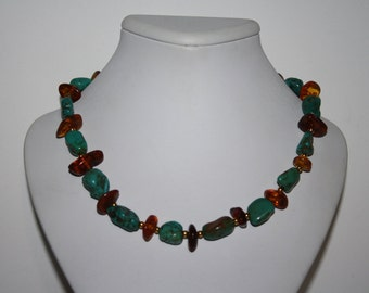 """Beautiful handmade turquoise and amber color Beaded Necklace 24"""" long"""