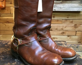 Vintage 1970s Brown Leather Harness Boots Vtg 70s Motorcycle Engineer Biker Boots Sz 8.5 E