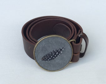 Feather Belt Buckle In Dove Gray