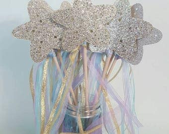 Gorgeous Mermaid /Little Mermaid Starfish or Clamshell Glitter Wand Party Favors set of 8/ Birthday party favors / glitter wands