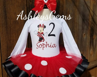 Minnie Mouse Birthday Outfit, Minnie Mouse Dress, Minnie Mouse Tutu, Red Minnie Tutu, Minnie Dress, Red and Yellow Ribbon Tutu, Minnie Tutu