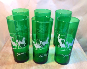 6 forest green Anchor Hocking glasses, white transfer, The Gay Ninties, 16 oz tumblers circa 1950s -1965, 4 different silhouettes