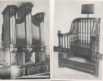 St. Michan's Church, Dublin, Ireland, 2 Unused Postcards  c1940s, good shape, Penitent's Chair, Organ (1724)