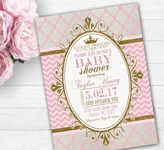 princess baby shower invitation fast customized digital or, Baby shower invitations