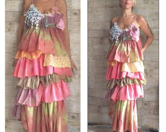Pink Sunshine Shabby sherbet rainbow watercolor art layered lace prairie gypsy floral ruffle rustic Boho dress