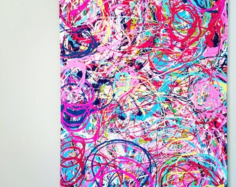"""XL Abstract Painting Action Splatter Art Colorful Painting Abstract Expression Oversized Canvas Original Acrylic Art 30""""x40"""" canvas"""