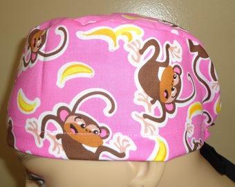 Skull Cap , Tie Back , Scrub Cap , Monkey , Banana , pink
