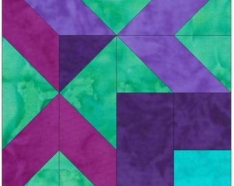 Meeting Chevrons Corner 10 Inch Paper Piece Foundation Quilting Block Pattern