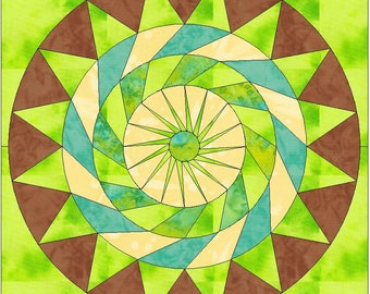 Key Lime Pie Circle 15 Inch Block Paper Template Quilting Block Pattern PDF