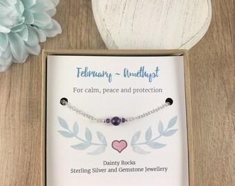 February Birthstone, Amethyst bracelet, Chain Bracelet, Sterling Silver, Link Bracelet, Birthstone Bracelet