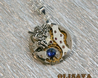 Watch movement  Steampunk   Pendant with Swarovski crystal  ,  Steampunk Jewelry , Clockwork  Pendant