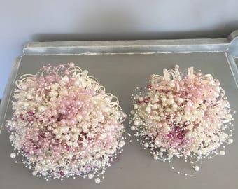 Bridesmaids bouquet- brides bouquet - dusky pink and ivory wedding bouquet. Pearl bouquet. Brooch bouquet