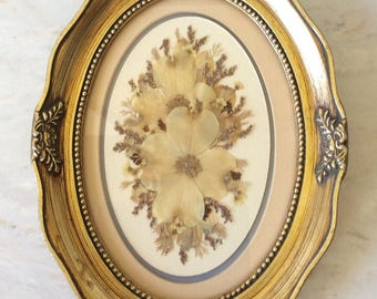 Vintage Oval Gold Ornate Frame with Dried Flowers, Dogwood, French Country, Cottage, Shabby Chic, Statement Wall Decor