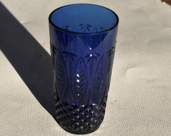 Vintage Sapphire Blue Crystal Tumbler Glass With a Diamond Arch Cut
