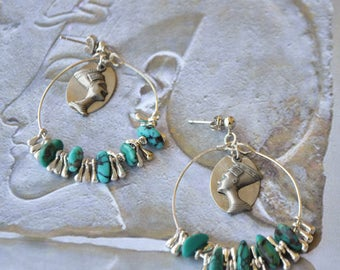 Creoles silver and Turquoise earrings Nefertiti