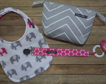 Reversible Pink and Gray Elephant, Baby Girl Bib, Pacifier Clip and Pacifier Pouch Gift Set, 0-6 Month Baby Gift