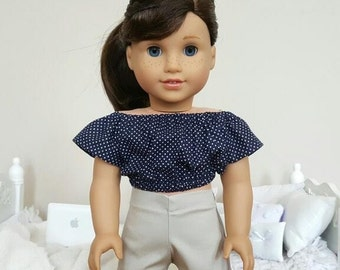 18 inch doll peasant blouse and shorts
