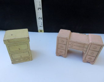 Vintage Strombecker Wooden Dollhouse Pink Vanity Table and White Nightstand End Table Miniature Furniture Doll House Miniature Furniture