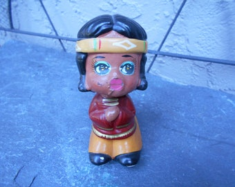 Early 50's Composition Japanese Rocking Nodder, Bobble Head, Native American Indian, Headdress