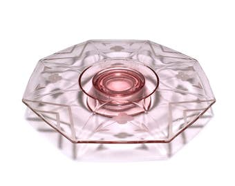 Vintage Pink Glass Cake Stand with Pedestal Base and Etched Flower Design, Octagon Shaped Footed Cake Platter