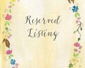 Reserved Listing for Lisa