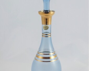 Vintage Blue Bohemia Genie Bottle Glass Decanter Czechoslovakia