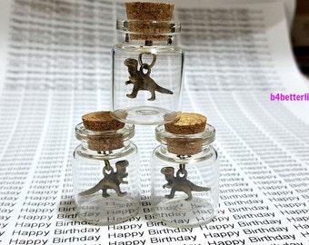 Lot Of 3pcs Bronze Tone Dinosaur Metal Charm In A Mini Glass Bottle With Cork. #CIB3377BC.