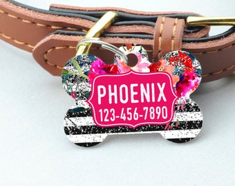 Floral Pet ID Tag - Watercolor Floral Rose Silver Glitter Dog Name Tag