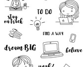 Work / study clear stamp set - decorative planner stamps suitable for any planner