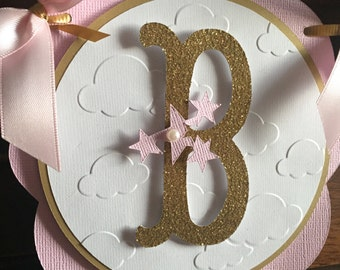 Twinkle Twinkle Little Star Birthday Banner-Pink and Gold