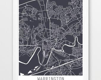 Warrington City Urban Map Poster, Warrington Street Map Print, Warrington United Kingdom England, Modern Wall Art, Home Decor, Printable Art