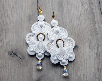 SALE - Bridal Earrings, Soutache Earrings, Gold White, Bridal Earrings, Wedding Earrings, Dangle Earrings, White Earrings,