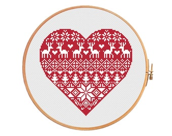 Nordic heart - cross stitch pattern - christmas heart traditional pattern ornament merry christmas decoration xmas Scandinavian