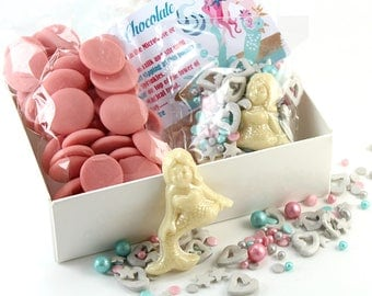 Mermaid Hot Chocolate Kit - Mermaid Lover - Foodie Gift - Mermaid Party Favour - Strawberry Chocolate - Sprinkletti Toppers