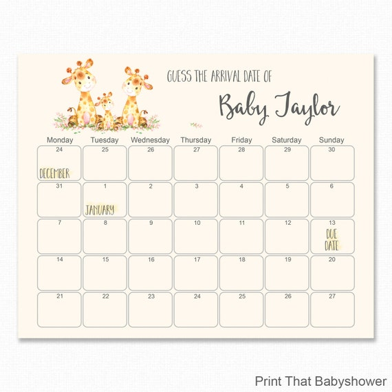 Baby Shower Guess The Due Date Baby Shower Games Baby