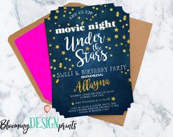 Movie Under the Stars Sweet Sixteen Birthday Birthday Invitation