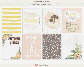 Printable + Digital | Pocket Cards 3x4 (8 Designs) | Ideal for pocket scrapbooking, project life + papercrafting | Instant Download - FC002