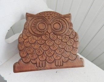 Mid Century Pressed Wood Owl Napkin Holder - Owl Mail Holder - Owl Letter Holder - Home Office Owl - Owl Collectible- 1970s Owl Lover Gift