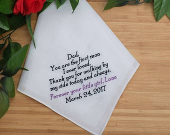 Father of the Bride Handkerchief. Wedding Handkerchief. Personalized Handkerchief. Embroidered Handkerchief. Wedding gift for Dad.