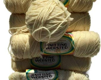 Vintage Off White Worsted Wool Knitting Yarn, 9 Skeins of Yarn Available, New Bargain Wool Yarn, Sale Wool Yarn, Quiltsy Destash Party