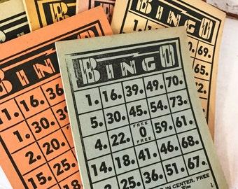 Vintage Bingo Cards, Paper Pads, Mid Century 1950's Bingo tear sheets, Crafts, Retro, Collectable, Nostalgia, Family Game Night Fun,