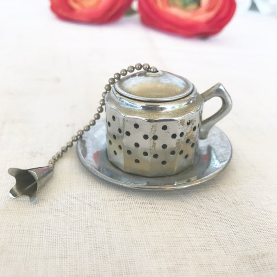 Antique Tea Infuser Teapot W Platter Vintage Tea Strainer