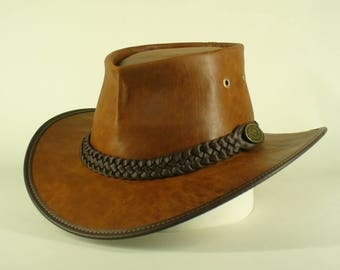 Genuine super quality kangaroo leather hand crafted fold-up squashy Australian Bush Hat / Gardeners / Outdoor Hat